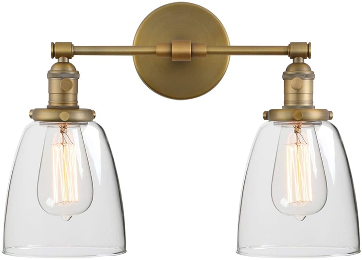 Phansthy Antique Industrial Wall Lamp 2 Lights Wall Sconce Light with Dual 5.6 Inches Dome Glass Lamp Shade(Antique)