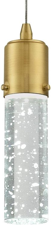 Westinghouse Lighting 6355300 Cava One-Light Dimmable LED Indoor Mini Pendant, Champagne Brass