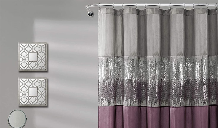 Lush Decor, Gray and Purple Night Sky Shower Curtain   Sequin Fabric Shimmery Color Block Design for Bathroom, x 72