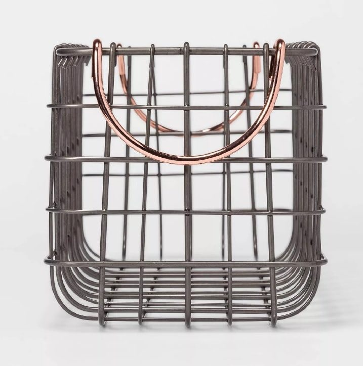 """16""""x6""""x6"""" Wire Tank Top Basket with Handle Copper - Threshold"""