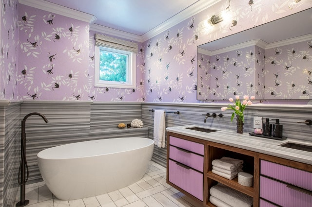 Trendy kids' gray tile double-sink and wallpaper freestanding bathtub photo in San Francisco with purple cabinets, an undermount sink, gray countertops and a built-in vanity