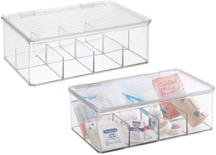 mDesign Plastic First Aid Kit Storage Box with Clear Top Lid for Bathroom, Kitchen, Cabinet, Closet - Organizes Medicine, Ointments, Adhesive Bandages, Dental - 8 Divided Sections, 2 Pack - Clear