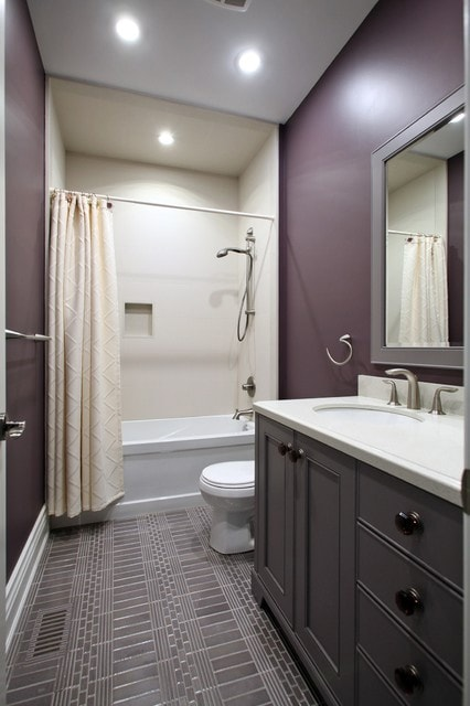 Bathroom - mid-sized transitional 3/4 gray tile bathroom idea in Toronto with gray cabinets, purple walls and an undermount sink
