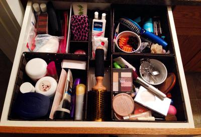 """used Dollar store baskets,""""creams and lotions in one, makeup in one, and hair brushes and accessories in another. Smaller baskets for nail polish and etc."""