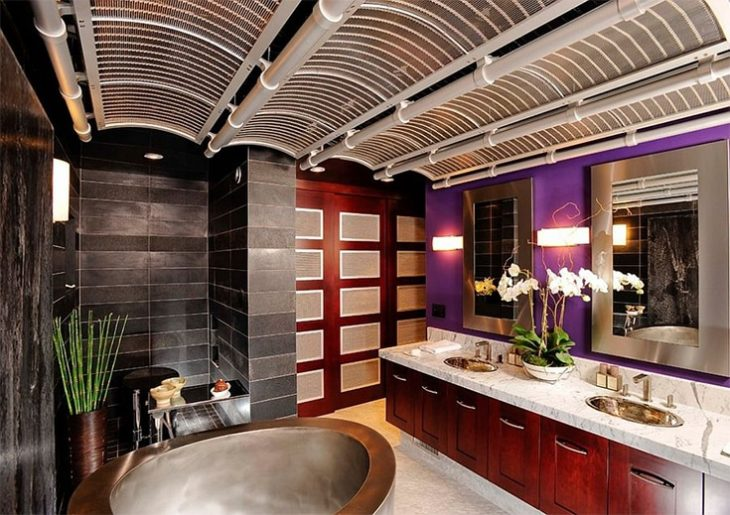 Spa-styled Asian bathroom with a splash of bright purple