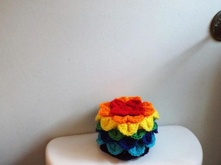 Rainbow Toilet Paper Cover Bathroom Tissue Cozy Commode Decor Toilet Tank Topper Spare Roll Holder Rainbow Colors