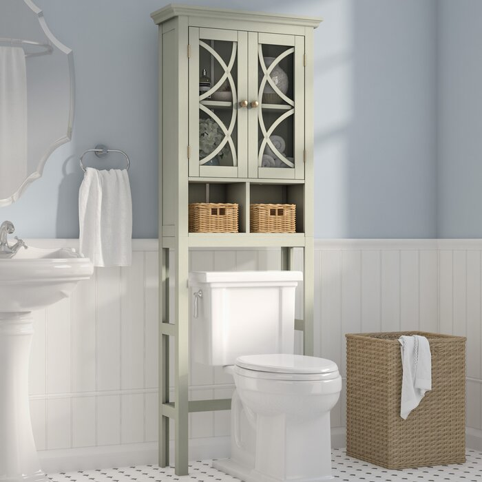 """Diane 24"""" W x 68.3"""" H x 7.5"""" D Free-Standing Over-The-Toilet Storage"""