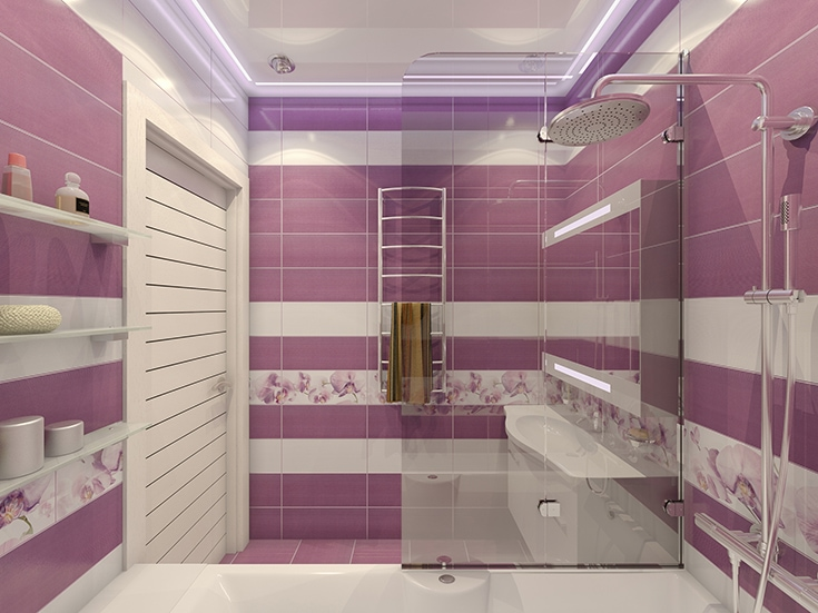 3D illustration of design of a bathroom in violet color with orc
