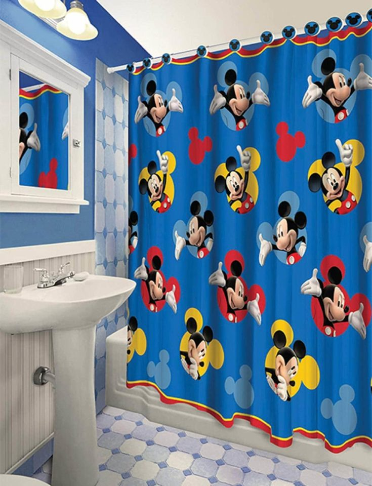 Roll over image to zoom in All New Fabric Shower Curtain Set Disney with 12 Matching Hooks (Mickey)