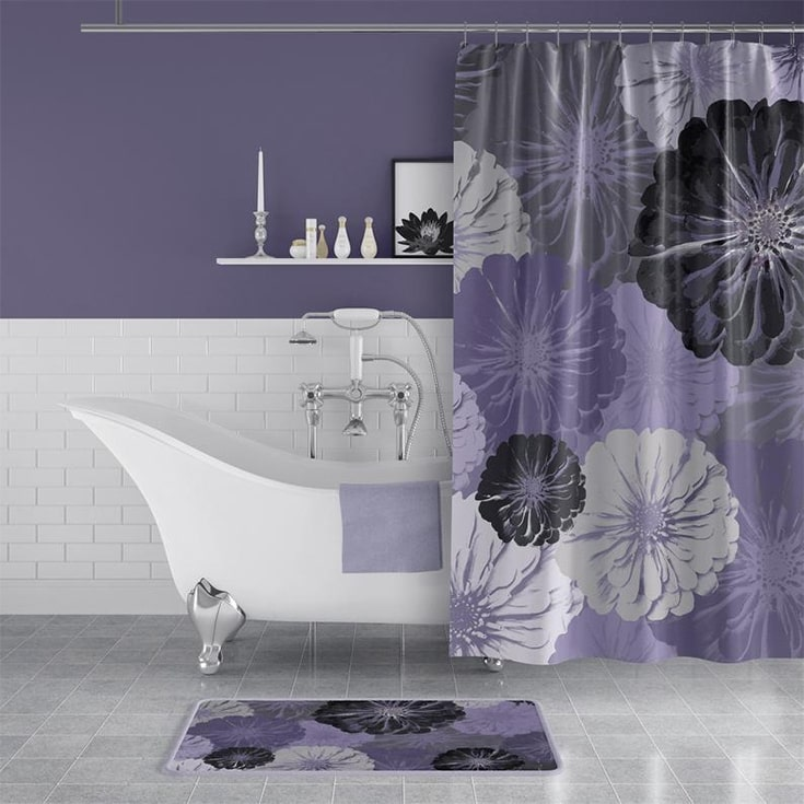Purple And Gray Floral Print Fabric Shower Curtain - Large-Scale Zinnia Flowers for Lilac / Lavender / Gray Bathroom Deco