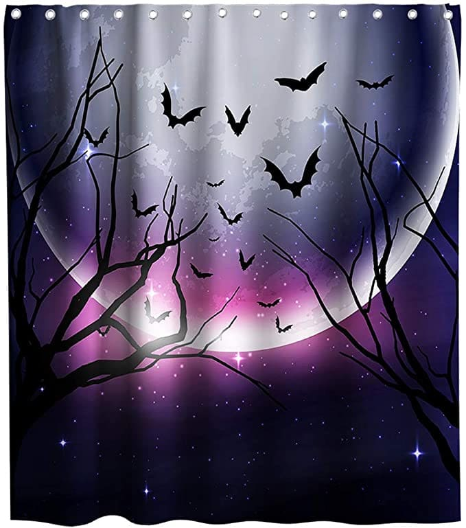 Nightmare Before Christmas Shower Curtain Rustic Purple Moon Theme Cloth Fabric Halloween Bathroom Decor Set with Hooks Waterproof Washable 72 x 72 inches Black and White