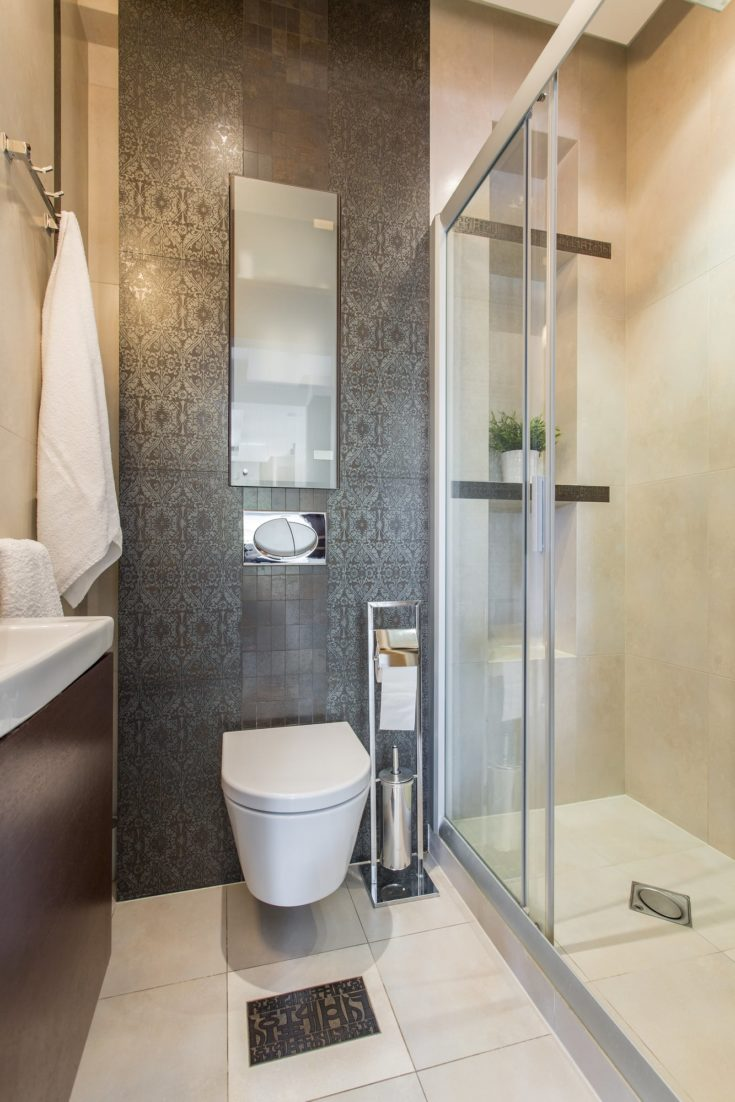 Interior of luxury bathroom with a shower