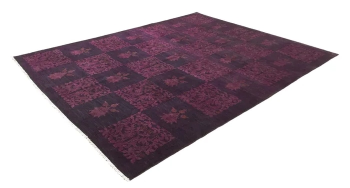 """One-of-a-Kind Avani Hand-Knotted 2010s Purple/Gray 8'2"""" x 10'1"""" Wool Area Rug"""