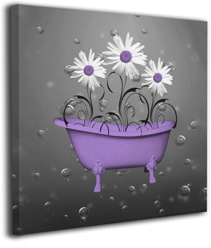 """Yanghl Canvas Wall Art Prints Purple Gray Daisy Flowers Bubbles Modern Decorative Artwork for Wall Decor and Home Decor Framed Ready to Hang 12""""x12"""""""