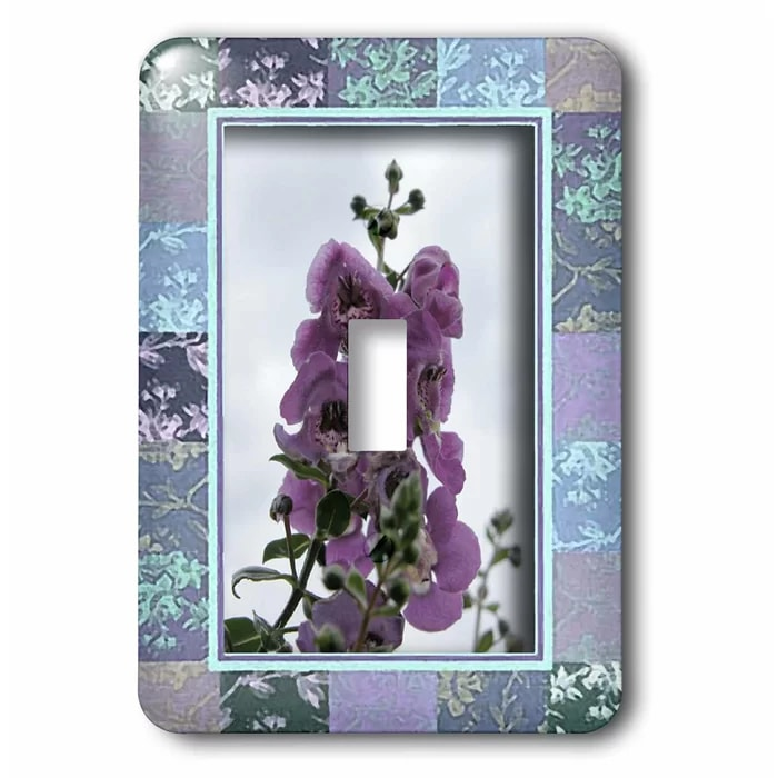 Switch Purple Flower in Floral Frame 1-Gang Toggle Light Switch Wall Plate