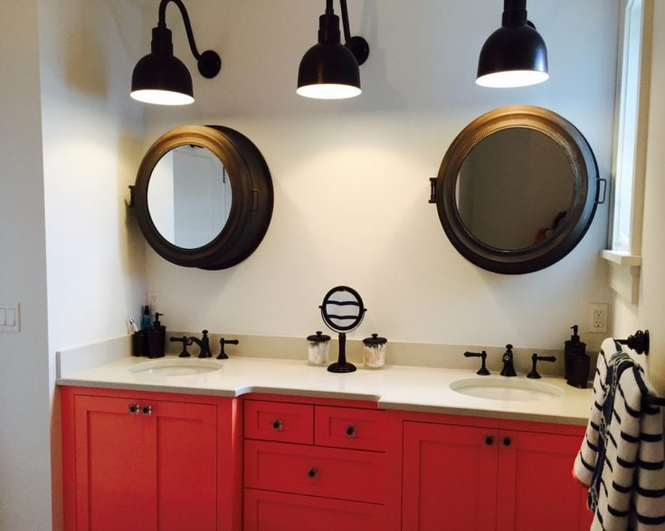Beach style kids' gray tile and ceramic tile ceramic tile tub/shower combo photo in New York with an undermount sink, shaker cabinets, red cabinets, quartz countertops, a one-piece toilet and white walls