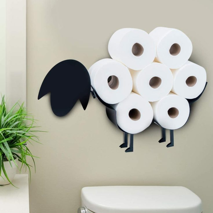 Sheep Toilet Paper Holder by East World - Free Standing and Wall Mount Toilet Tissue Storage Stand - Roll Holders fit 7X Rolls, and So Adorable! Black Sheep Gifts, Bathroom Accessories, and Fixtures