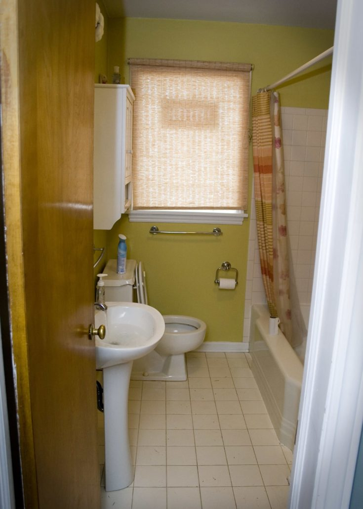 The bathroom is on the small side but it is cute and girly