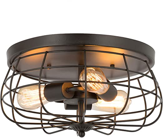 CO-Z 15 Inch Industrial 3-Light Vintage Metal Cage Flush Mount Ceiling Light, Oil Rubbed Bronze Finish, Rustic Ceiling Lighting Fixture for Bedroom, Dining Room, Living Room, Farmhouse Lighting