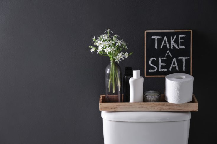 Decor elements, necessities and toilet bowl near black wall, space for text. Bathroom interior
