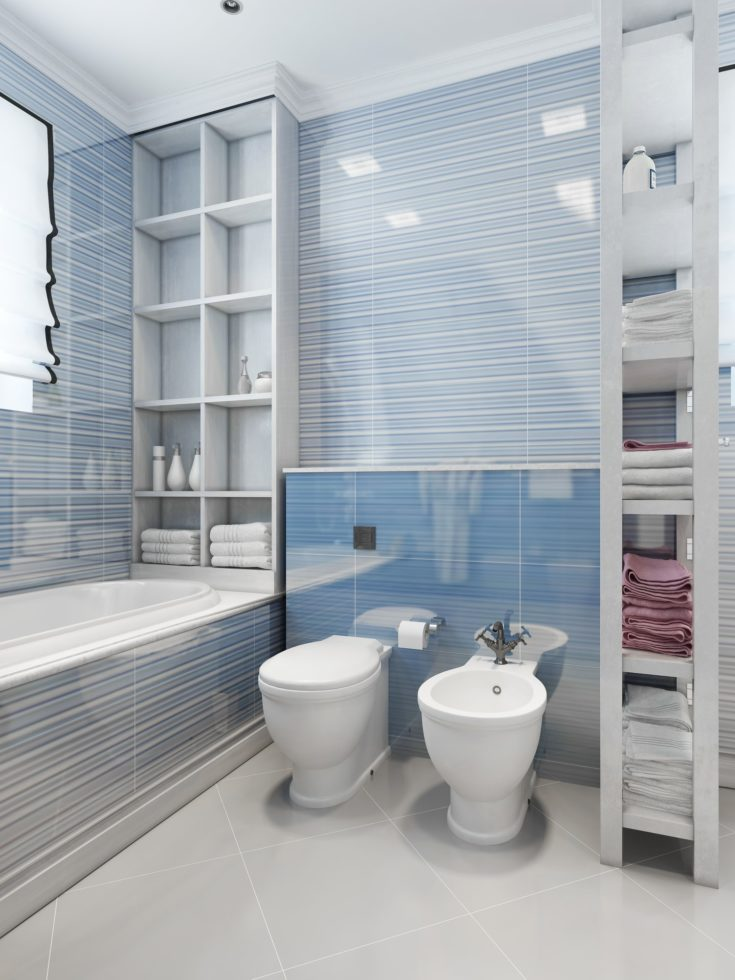 Toilets and bidet in classic style. 3D visualization