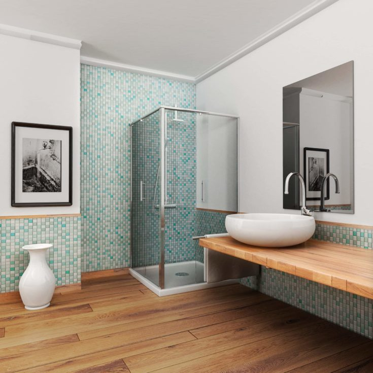 large bathroom with wood floor and vintage mosaic light blue and green