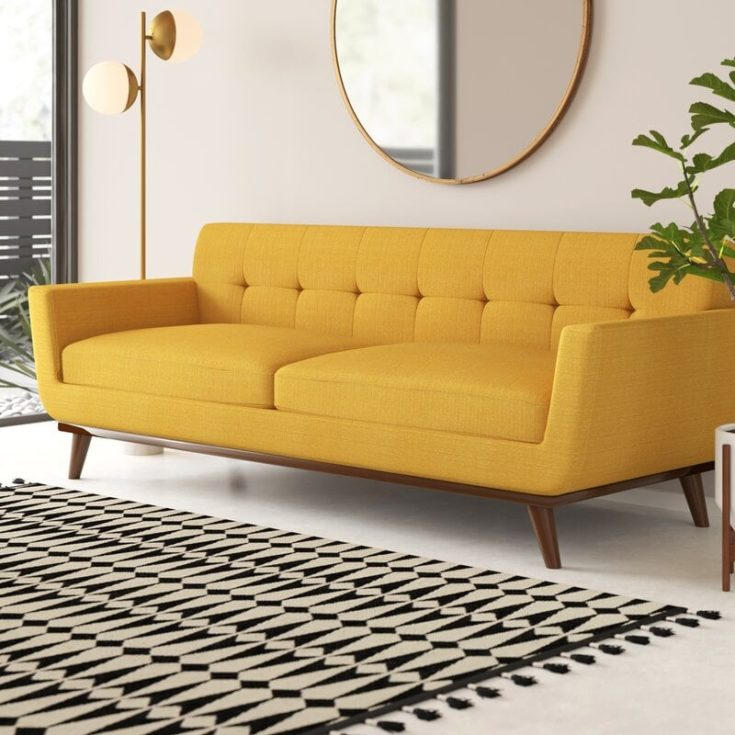Yellow Square Armed Sofa