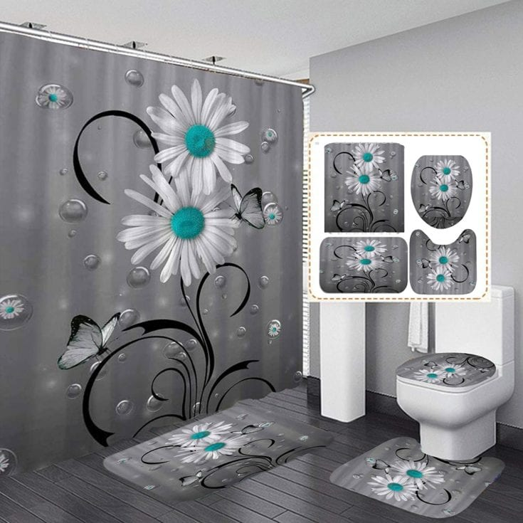 White and Teal Bathroom Accessory Kit