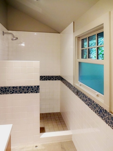 Mid-sized beach style 3/4 yellow tile and ceramic tile ceramic tile alcove shower photo in San Francisco with a drop-in sink