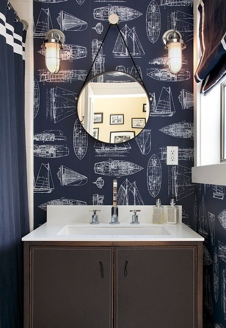 Trendy bathroom photo in San Francisco with flat-panel cabinets, brown cabinets, multicolored walls and white countertops