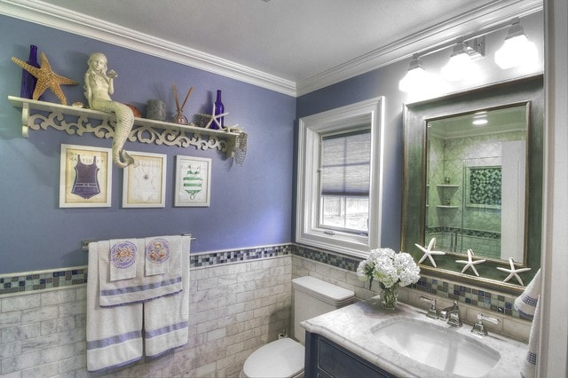 Mid-sized beach style 3/4 blue tile, gray tile, white tile and subway tile alcove shower photo in New York with blue cabinets