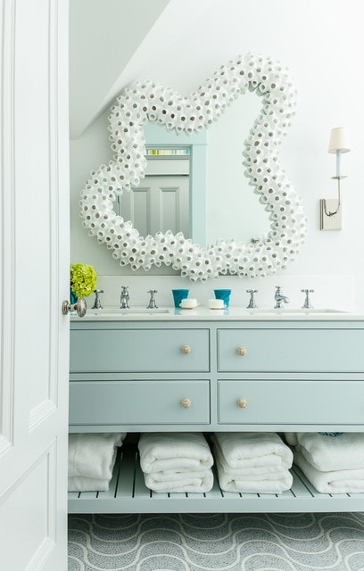 Inspiration for a mid-sized coastal master mosaic tile floor bathroom remodel in Boston with an undermount sink