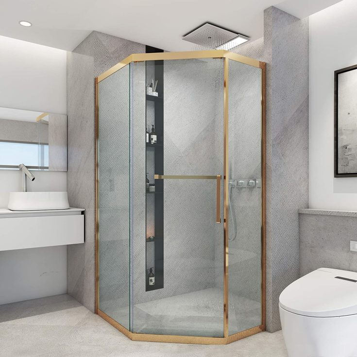 """Art Leon 39.37""""W x 76.77""""H Neo Angle Shower Enclosure in Rose Gold"""
