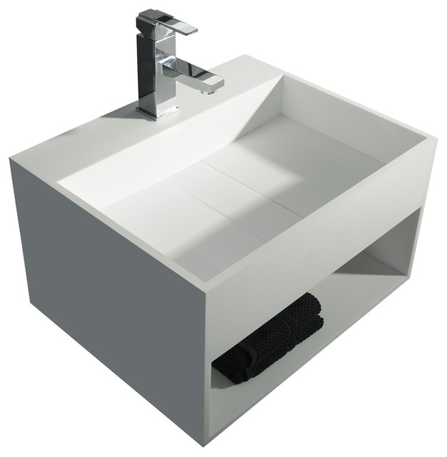 Solidcubo 24 in. Wall Vanity Washbasin With Storage Solid Surface