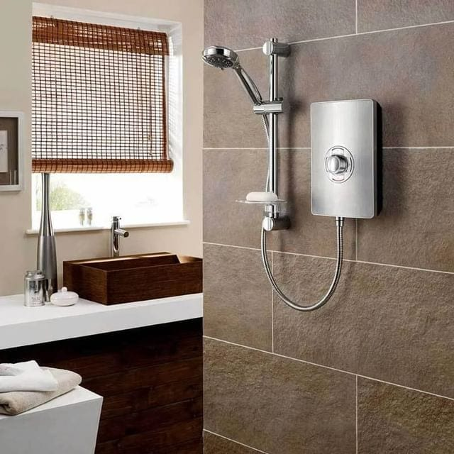 Triton Aspirante electric shower finished in brushed steel