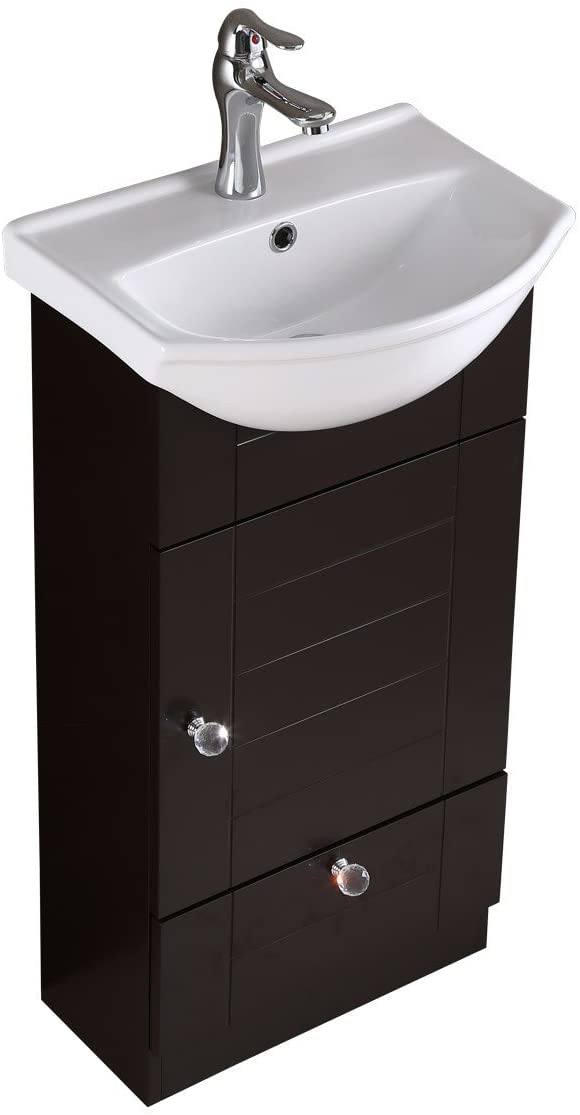"""Mahayla 17 3/4"""" Small Cabinet Vanity Bathroom Sink Black With Faucet Drain Overflow"""