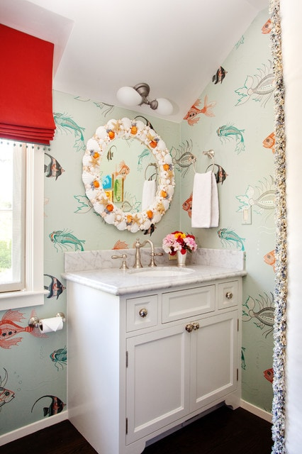 Example of an eclectic kids' bathroom design in San Francisco with an undermount sink, shaker cabinets, white cabinets and multicolored walls