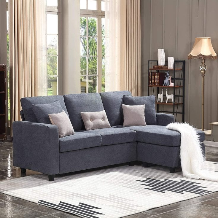 L-Shaped Couch with Modern Linen Fabric for Small Space Dark Grey