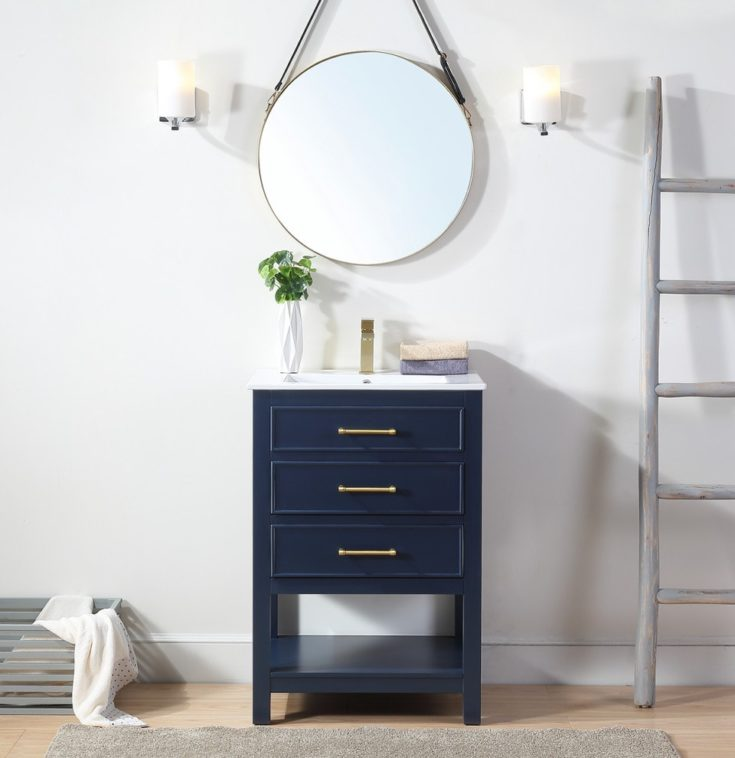 Bathroom - small contemporary single-sink bathroom idea with an undermount sink and a freestanding vanity