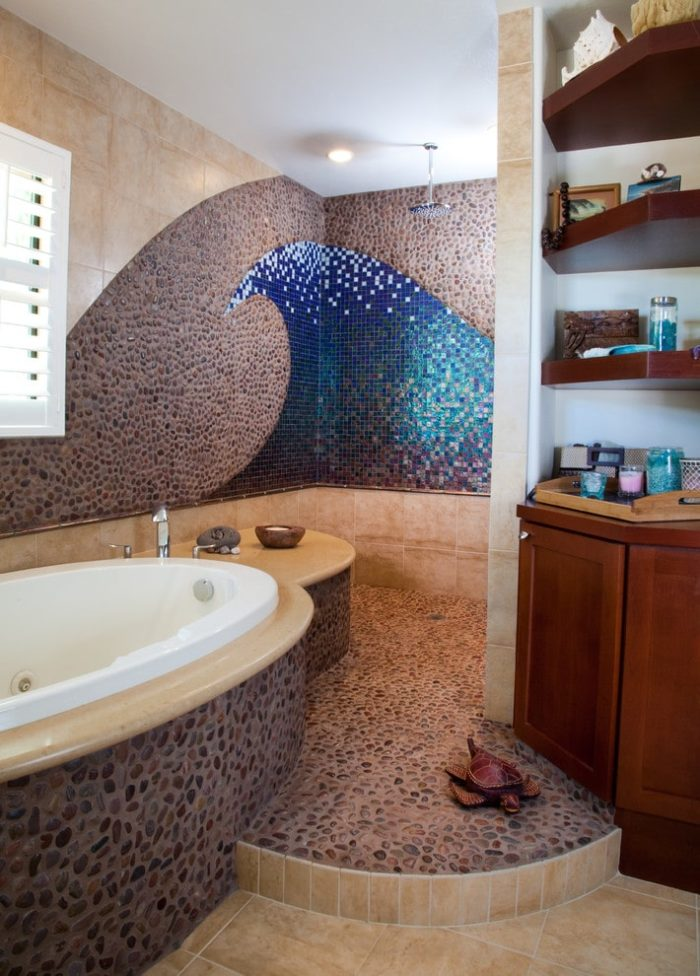 Example of a large beach style master mosaic tile and blue tile pebble tile floor and gray floor bathroom design in San Diego