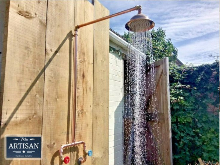 Copper Pipe Rainfall Shower - Rustic / Vintage / Industrial