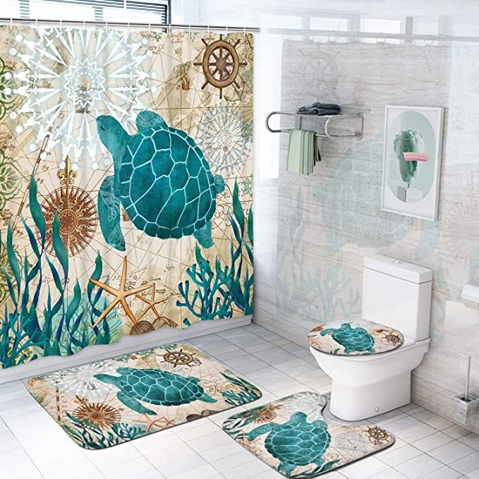 Sea Turtle Shower Curtain Sets with Non-Slip Rugs, Toilet Lid Cover and Bath Mat