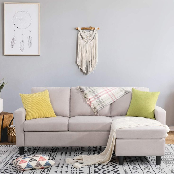 Modern Linen Fabric L-Shaped Couch 3-Seat Sofa Sectional