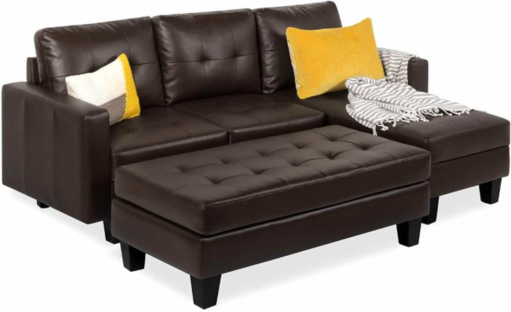 Tufted Faux Leather 3-Seat L-Shape Sectional Sofa Couch