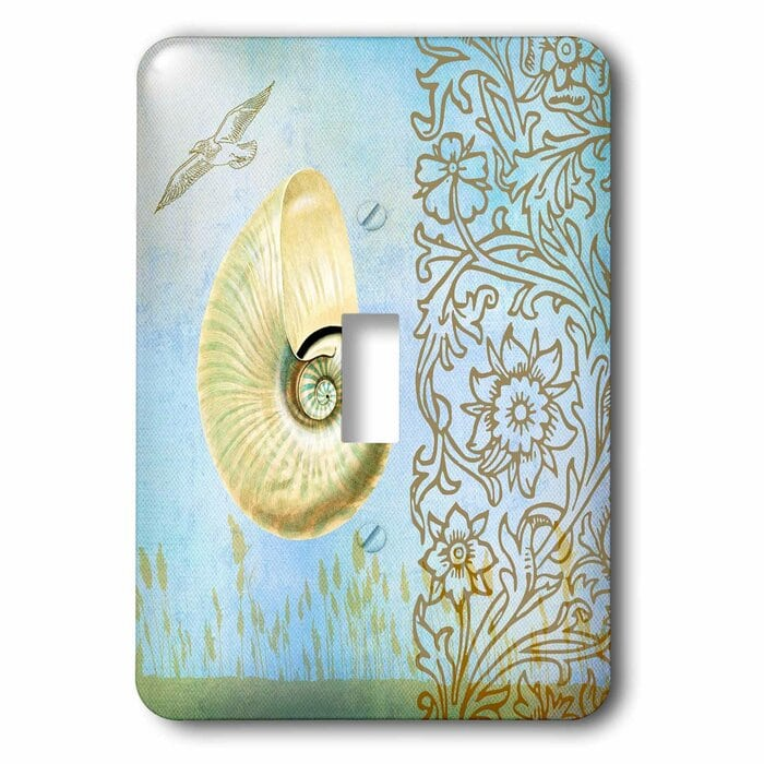 Day At The Beach Shell In Aqua Beach Theme Art 1-Gang Toggle Light Switch Wall Plate