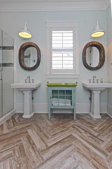 Beach style white tile and subway tile bathroom photo in Charleston with a pedestal sink