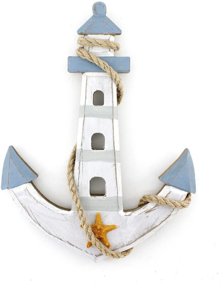 """10""""x7.6"""" Wooden Nautical Lighthouse Anchor Wall Hanging Ornament Plaque"""