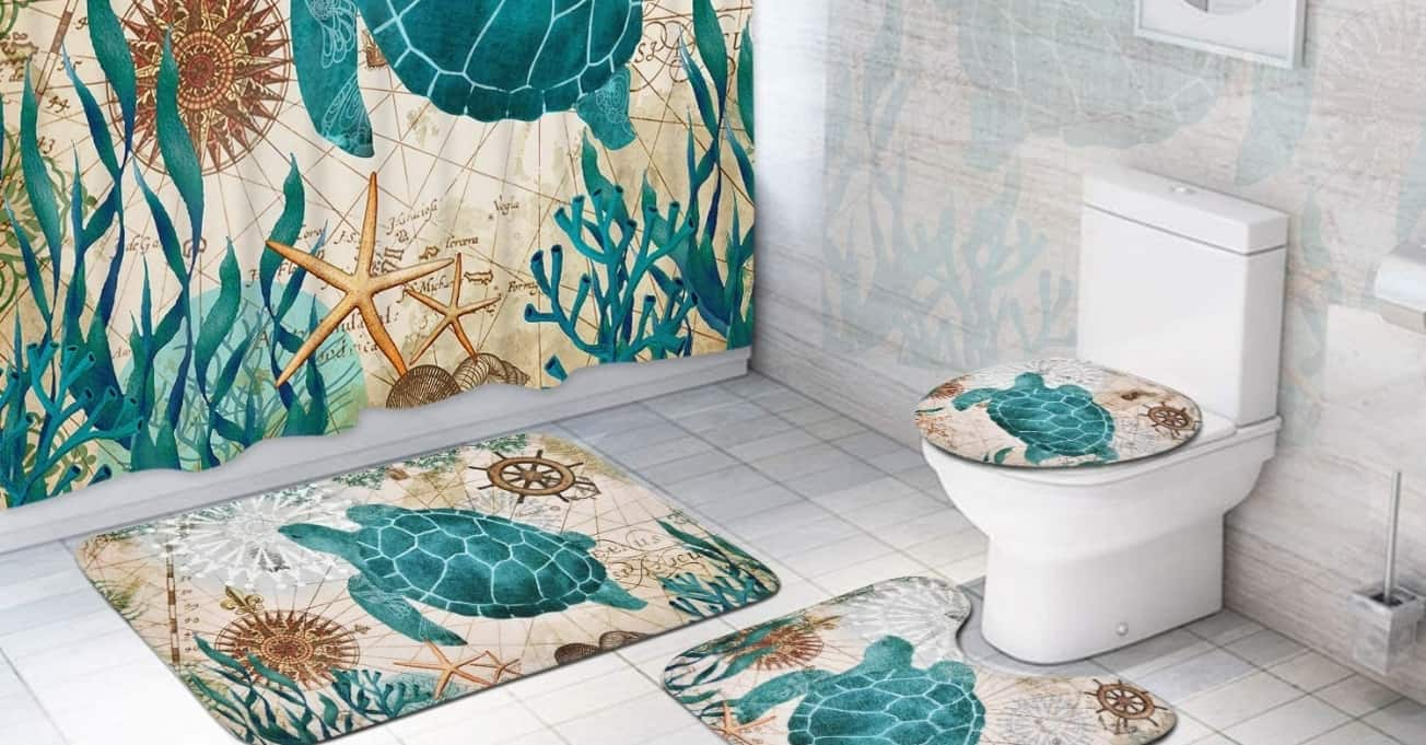 Bathroom with Beach Themed rugs, shower curtain and toilet seat cover