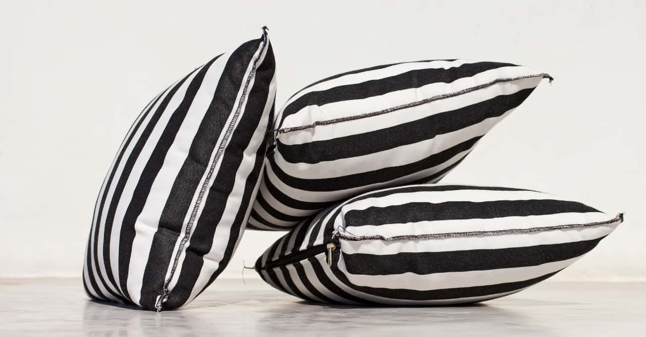 3 black and white stripe Couch Cushions