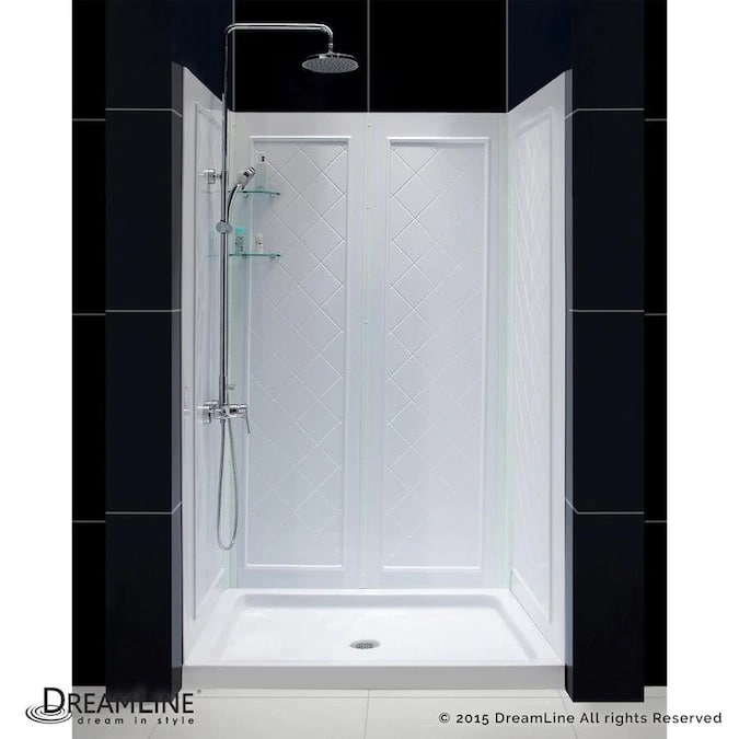 DreamLine QWALL-5 White 2-Piece 48-in x 36-in x 77-in Alcove Shower Kit